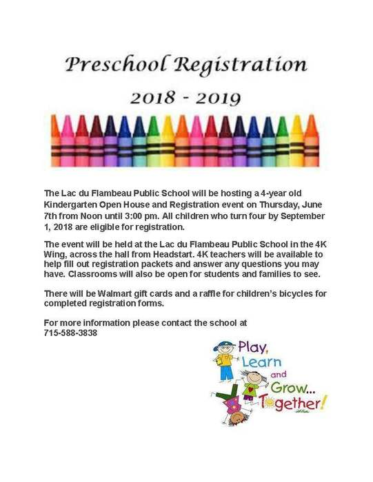 Preschool Registration 2018-2019