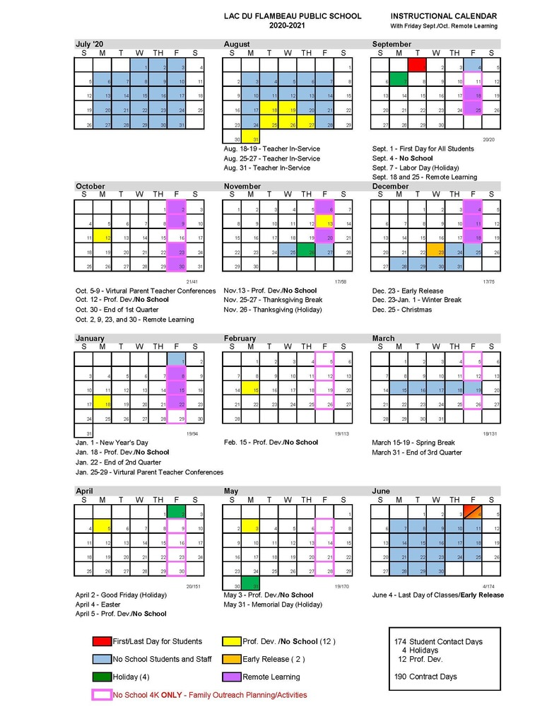 New Board Approved Calendar