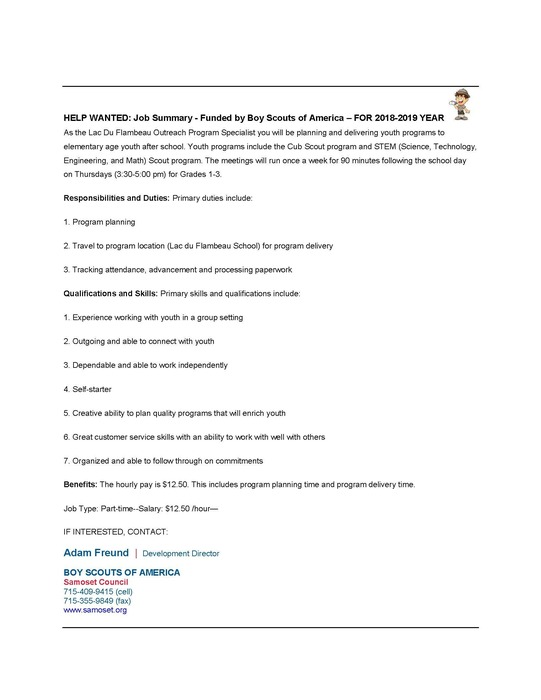 Help Wanted Boy Scouts 2018-2019 SY