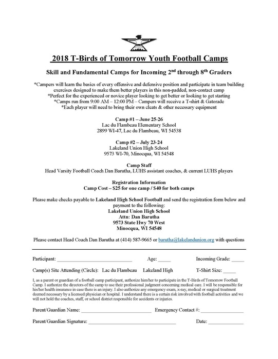 T-Birds of Tomorrow Youth Football Camp