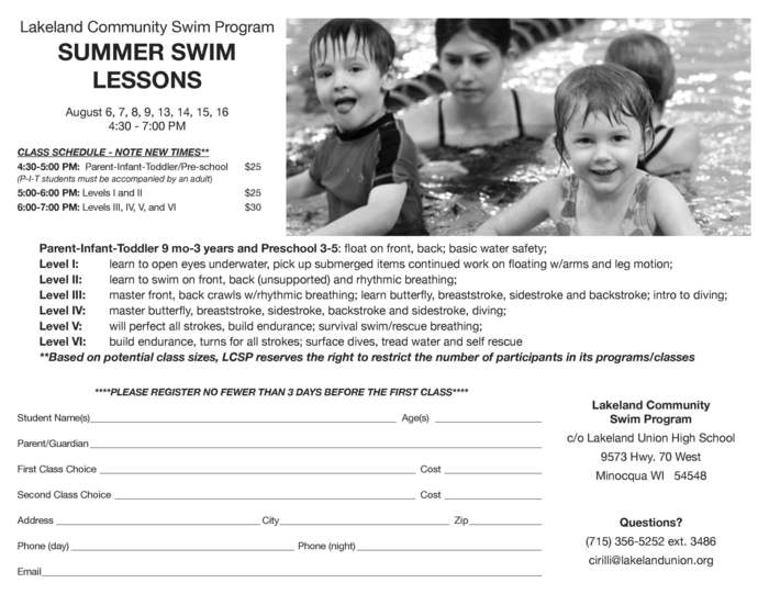 Summer Swim Lessons at LUHS