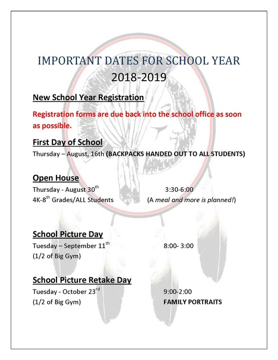 Important Dates for 2018-2019 SY