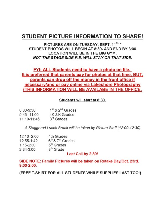 Student Picture Information