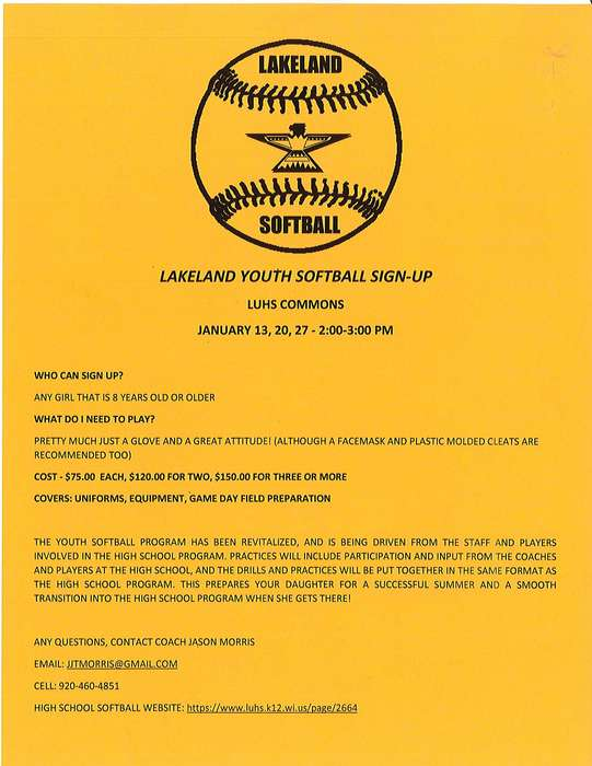 Lakeland Youth Softball Sign-up